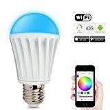 RGB Wifi-LED 24gadgetstore W-Lan Lampe, Handy gesteuert, iOS, Android, E27 Glüh-birne, 16 Millionen Farben, Farbwechsel