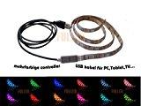 100cm LED Leiste Streifen licht RGB Stripe Mehrfarbig wasserdicht + MINI Controller USB 2.0 Kabel