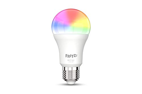 AVM FRITZ!DECT 500 (smarte LED-Lampe E27 für farbiges und weißes Licht, dimmbar, 2700K, 9W, 806 Lumen)