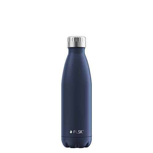FLSK Das Original New Edition Edelstahl Trinkflasche – Kohlensäure geeignet   Die Isolierflasche hält 18 Stunden heiß und 24 Stunden kalt   ohne BPA und rostfrei, Midnight, 500ml