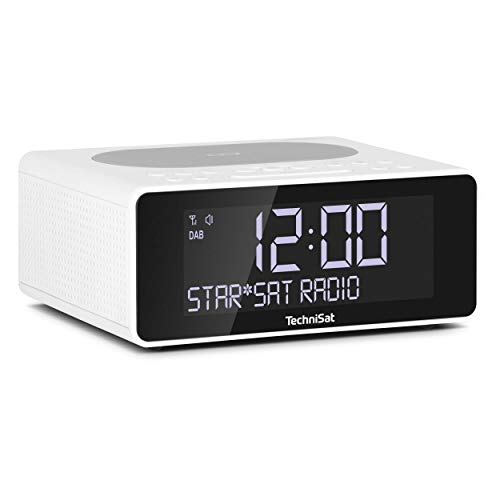 TechniSat DIGITRADIO 52 – Stereo DAB Radiowecker (Uhrenradio, Wecker, DAB+, UKW, Snooze-Funktion, Sleeptimer, dimmbares Display, Wireless-Charging Funktion, Stereo Lautsprecher 2 x 1 W) weiß
