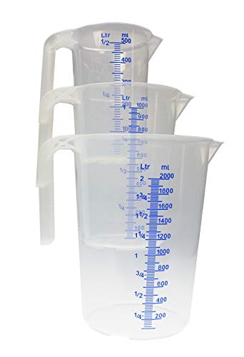 BigDean Messbecher-Set - 3 Verschiedene Größen - bruchsicher, temperaturbeständig, farbige Skala transparent & blau - aus Polypropylen PP lebensmittelecht