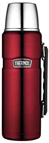 THERMOS Thermoskanne Edelstahl Stainless King, Edelstahl rot 1,2L, Isolierflasche mit Trinkbecher 4003.248.120 spülmaschinenfest, Thermosflasche hält 24 Stunden heiß, 24 Stunden kalt, BPA-Free