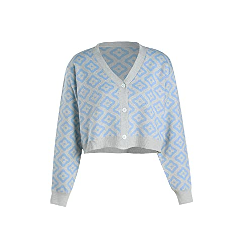 Zukmuk Y2k Button Down Cardigan Long Sleeve Print Knit Crop Tops Y2K Sweet Floral Knitwear Cardigans V-Ausschnitt Langarm Front Buttons Open Pullover Mantel für Frauen (Blau Floral, One Size)