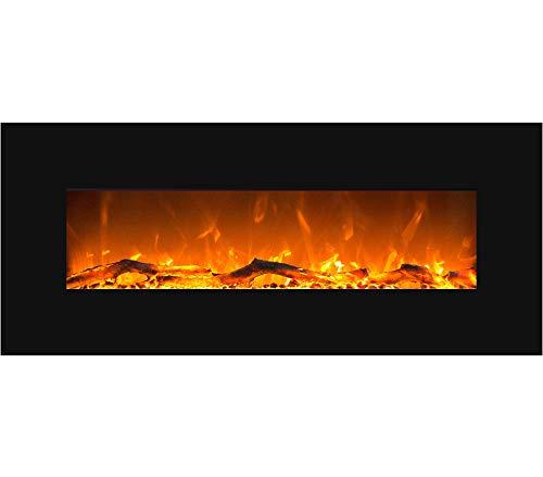 GLOW FIRE Elektrokamin mit Heizung, Wandkamin mit LED   Künstliches Feuer mit zuschaltbarem Heizlüfter: 750/1500 W   Fernbedienung (Größe L - 126 cm, Schwarz)