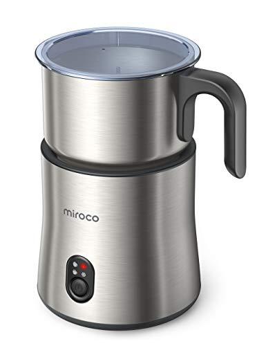 Milchaufschäumer, Miroco 500ml Entnehmbarer Automatischer Edelstahl Milchschäumer 4 in 1 Spülmaschinenfester Milchschaum warm & kalt, Warme Schokolade, Milchbehälter kabellos leise