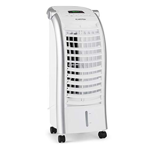 Klarstein Maxfresh - 3-in-1 mobiles Klimagerät: Luftkühler, Ventilator & Luftbefeuchter, 55 Watt, 444 m³/h, 4 Geschwindigkeitsstufen, Oszillation, 51 dB, Timer bis 15 h, Wassertank: 6 L, weiß
