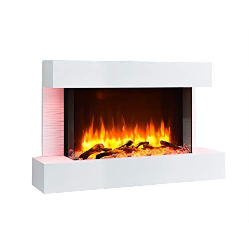 RICHEN Elektrokamin Aidan - Elektrischer Wandkamin mit Heizung, LED-Beleuchtung, 3D-Flammeneffekt & Fernbedienung - Elektrischer Kamin Weiß