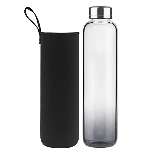 DEARRAY Sport Glas Trinkflasche 500ml / 1000ml / 1 Liter, Kohlensäure geeignet, Borosilikatglas Wasserflasche mit Neoprenhülle und Stilvollem Edelstahldeckel