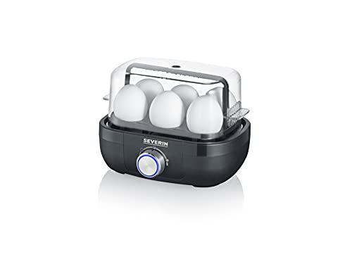 SEVERIN Eierkocher für 6 Eier mit elektronischer Kochzeitüberwachung, inkl. Messbecher mit Eierstecher, Eier Kocher für ideale Härtestufe, schwarz, 420 W, EK 3166