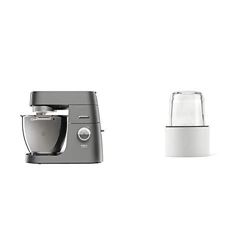 Kenwood Chef XL Titanium KVL8300S Küchenmaschine, 1.700 W, 6,7 l Füllmenge & Kräuter- und Gewürzmühle AT320, Zubehör für Kenwood Küchenmaschinen, inkl. 4 Glasbehälter mit Deckel