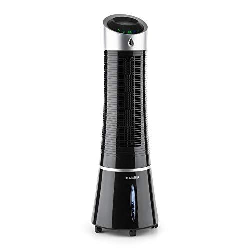 Klarstein Skyscraper Ice - 4-in-1 mobiles Klimagerät: Luftkühler, Ventilator, Luftbefeuchter & Luftreiniger, 210m³/h, Wassertank: 6L, 30 Watt, Oszillation, Ionisator, Timer, pechschwarz