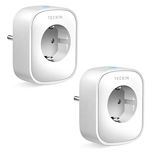 TECKIN WLAN Smart Steckdose 16A, Alexa Steckdose 2er Pack, Smart Home Steckdose misst den Stromverbrauch, mit Fernsteuerung und Sprachsteuerung, Funktionieren mit Alexa,Google Home, NUR auf 2.4 GHz