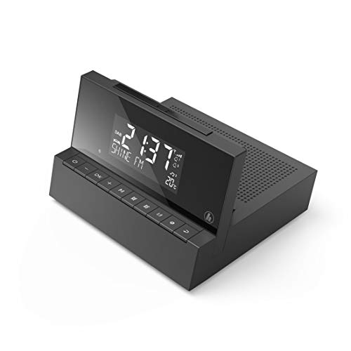 Hama Radiowecker DAB / DAB plus (zwei Weckzeiten, Snooze-Funktion, Sleep-Timer, Kopfhöreranschluss, AUX-In, Temperatur-Sensor mit Anzeige, Weckradio) schwarz