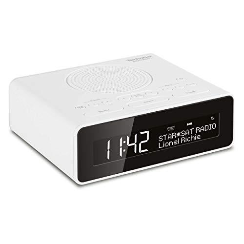 TechniSat Digitradio 51 DAB+ Radiowecker (DAB, UKW, Uhrenradio, Wecker mit zwei einstellbaren Weckzeiten, Snooze-Funktion, Sleeptimer, dimmbares Display, Kopfhöreranschluss) weiß