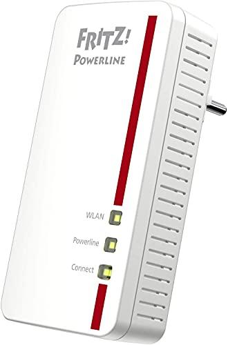 AVM FRITZ!Powerline 1260 Single-Adapter (1.200 MBit/s, WLAN-Access Point, ideal für Media-Streaming oder NAS-Anbindungen, deutschsprachige Version) weiß