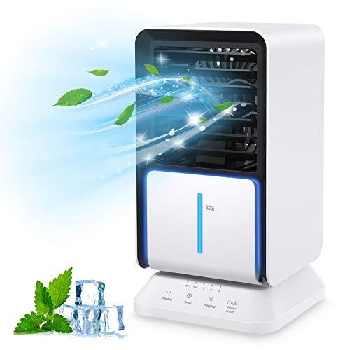 Klimaanlagen mit Wasserkühlung, Klimagerät, Luftkühler mit Verdunstungskühlung, Ventilator Verdunstungskühler, mit Luftbefeuchtung und Nachtmodus, mit Timer und 90° Drehfunktion
