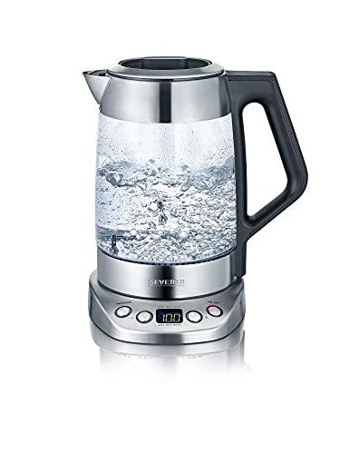 SEVERIN Glas Tee- und Wasserkocher, Teekocher mit einstellbarer Temperatur und Ziehzeit, Glas Wasserkocher mit voreingestellten Teeprogrammen, 3.000 W, Edelstahl, WK 3479