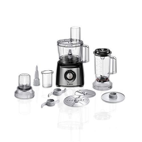 Bosch MCM3501M Kompakt-Küchenmaschine Multitalent 3, 800 W, 2 Arbeitsstufen und Momentstufe, 2,3l Schüssel transparent, Mixer, weiteres Zubehör, schwarz/Edelstahl