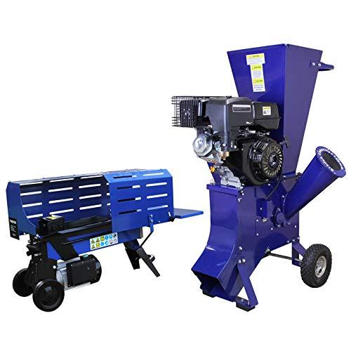 T-Mech Holzspalter 7T 520mm & T-Mech 13PS Holzhackmaschine Holzspaltmaschine Hydraulikspalter Elektrische Axt Gartenhäcksler