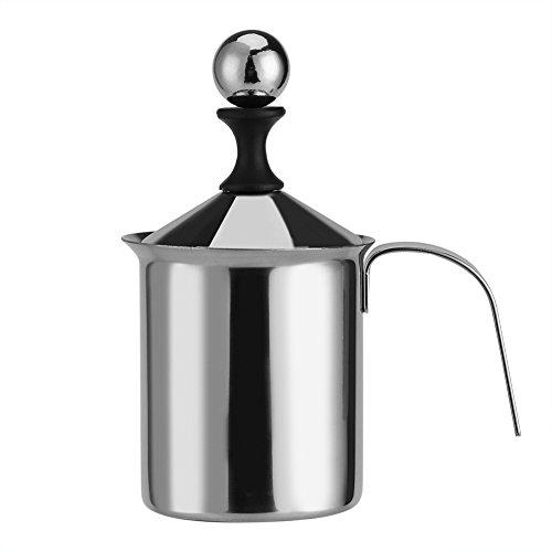Milchaufschäumer, 400ML / 800ML Edelstahl Hand Manuelle Milchaufschäumer Doppel-Mesh-Schaum-Mixer für Kaffee, Latte, heiße Schokolade Kaffee Cappuccino Foamer Creamer(800ML)