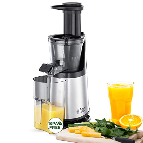 Russell Hobbs 25170-56 Slow-Juicer (Entsafter für Obst und Gemüse, 3 Siebeinsätze (fein, grob und gefrorene Früchte), inkl. Rücklauffunktion, BPA-frei, elektrische Obstpresse, Saftpresse)
