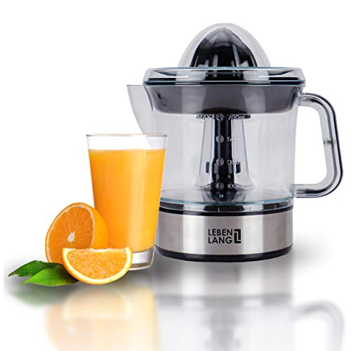 LEBENLANG Zitronenpresse elektrisch hohe Saftausbeute – Saftpresse, Orangenpresse 2 Drehrichtungen – Elektrische Fruchtpresse 2 Kegel - Orangen Edelstahl Zitruspresse