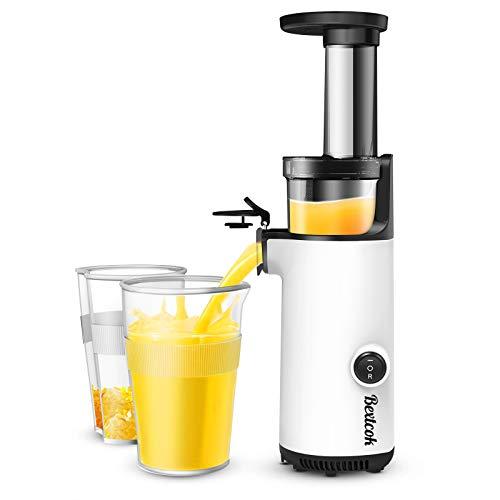 Entsafter, Bextcok Slow Juicer Entsafter Gemüse und Obst Hochleistung Tragbar Saftpresse Elektrisch Apfelpresse Klein Kompakt mit langsamer Pressfunktion, Obstpresse für Obst Orangen, BPA-Frei