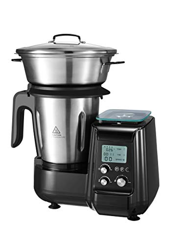 AIFEEL 1000W Multifunktions Küchenmaschine mit Kochfunktion, 2,5 l Edelstahlkrug, eingebaute Waage, 12 Geschwindigkeiten mit Impuls, 30 ° C-120 ° C, programmierbar, 18 Zubehörteile enthalten, BPA-frei