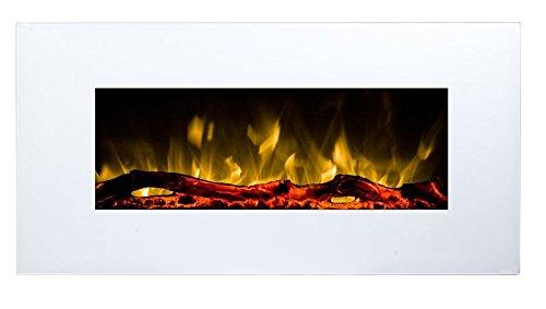 GLOW FIRE Neptun Elektrokamin mit Heizung, Wandkamin mit LED   Künstliches Feuer mit zuschaltbarem Heizlüfter: 750/1500 W   Fernbedienung, 84 cm, Weiß