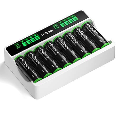 HiQuick Akku Ladegerät mit AA Akku 8 Stück, für Mignon AA, Micro AAA NI-MH wiederaufladbar Batterien, 8-Ladeplatz mit LED Anzeige