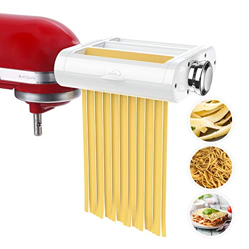Antree Nudelroller & Schneide-Aufsatz, 3-in-1, Set für KitchenAid-Standmixer. inklusive Nudelblattroller, Spaghettischneider, Fettuccine-SchneiderCutter