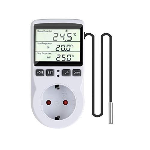 Gobesty Temperaturschalter, Temperaturregler 230 V mit Fühler, Steckerthermostat mit Zeitschaltuhr, Digital Thermostat Steckdose für Gewächshaus, Aquarium Heizung Kühlen