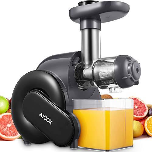 Slow Juicer, Aicok Entsafter Gemüse und Obst BPA-frei mit 2 Filter, Rücklauffunktion, Anti-Oxidation Juicer mit Ruhiger Motor, Saftauffangbehälter und Reinigungsbürste für einen nährstoffreichen Saft