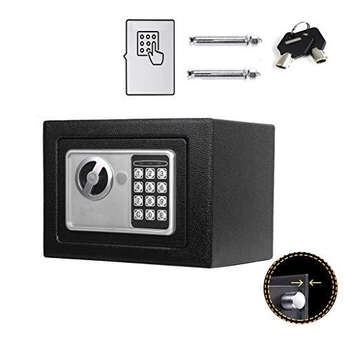 Klein Elektronik Safe Tresor mit zahlenschloss und 2 Notschlüssel Wasserdichte Sicherheitsbox Wandtresor Schwarz 23 x 17 x 17 cm