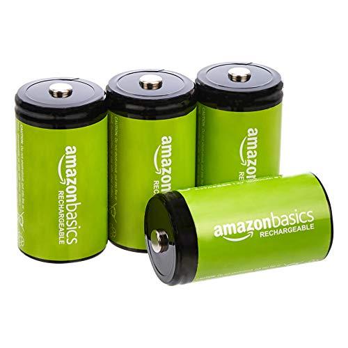 AmazonBasics – D-Zellen, wiederaufladbare Batterien, 10.000 mAh, NiMH, 4er-Packung (das Aussehen kann variieren)