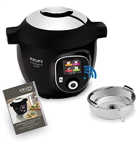 Krups CZ7158 Cook4Me+ Connect Multikocher (1600 Watt, elektrischer Schnellkochtopf, inkl. kostenlose App, Bluetooth Steuerung, 4 Liter Fassungsvermögen) schwarz/grau