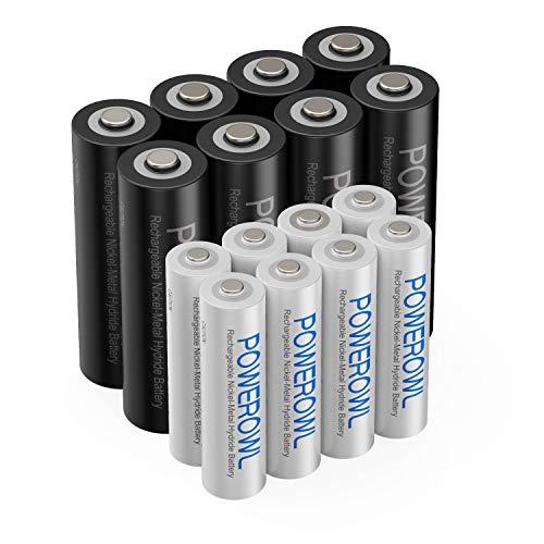 Powerowl Akku AA 2800mAh + Akku AAA 1000mah Aufladbare Batterien AA Akku NI-Mh AA Wiederaufladbare Batterie 1.2v AA Akkubatterien (16 Stück)