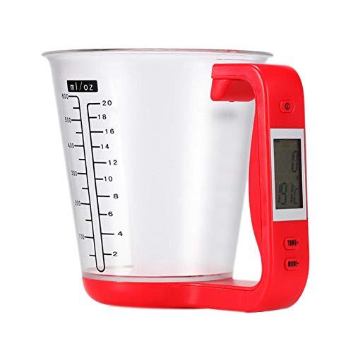 großer Präzision Gramm Elektronischer Messbecher Küchenwaage Digitaler Becher Host Wiegetemperatur-Messbecher mit rotem LCD-Display