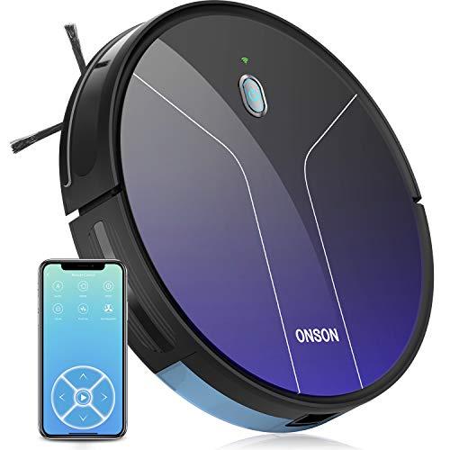 ONSON Saugroboter, J20C Staubsauger Roboter mit WLAN, (Optische Durchflusssensor Navigationssystem Roboterstaubsauger, 2100Pa,100Min, Sprachsteuerung) Reinigt Hartböden, Teppiche, Tierhaare