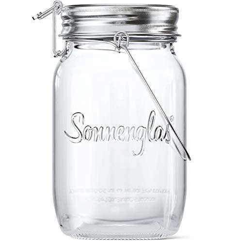 SONNENGLAS Classic 1000ml | Die Original Solarlampe/Solar-Laterne im Einmachglas aus Südafrika (inkl. USB Ladefunktion) | warmweiß | Fair Trade | Bekannt aus Pro7 Galileo
