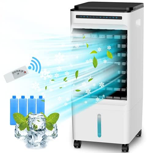 Nuaer Mobile Klimagerät Klimaanlage 5L,4-in-1-Luftkühler/Lüfter/Luftbefeuchter/Luftreiniger, 3 Windmodi/Windgeschwindigkeiten und Negativionenfunktion, 7 Timer-Einstellungen und Fernbedienung