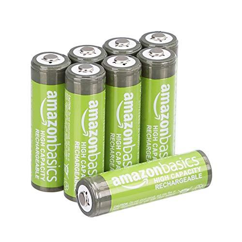 Amazon Basics AA-Batterien mit hoher Kapazität, wiederaufladbar, vorgeladen, 8 Stück (Aussehen kann variieren)