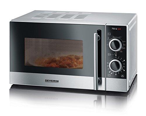 SEVERIN 2-in-1 Mikrowelle mit Grill 700 W, Grillofen mit 9 Automatikprogrammen, Mikrowelle mit Grillrost und Drehteller, silber-schwarz / Edelstahl, MW 7874