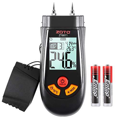 Feuchtigkeitsmessgerät, ZOTO Feuchtigkeitsmesser mit LCD-Display Hintergrundbeleuchtung, Feuchtigkeits-Detector für Holzrohstoffe, Sperrholzplatte, das Produkt der Holzfaser Luftfeuchtigkeit messen