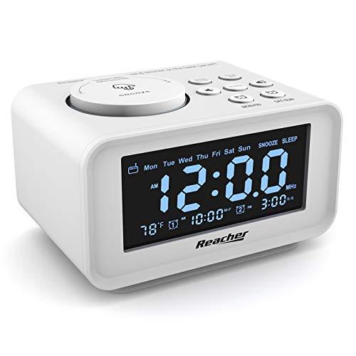 REACHER FM Radiowecker mit USB-Anschlüssen, Dual Alarm mit Wochentag/Wochenend, 6 Weckergeräusche, Anpassbare Helligkeitsregulierung, Sleep-Timer,Thermometer, Kleine Größe für Schlafzimmer (Weiß)