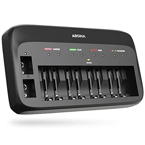ABSINA Akku Ladegerät X10 für AA, AAA & 9V - Akkuladegerät 10-Fach zum Laden von wiederaufladbaren Akkus - NiMH Ladegerät Akku für Micro AAA, Mignon AA & 9V Block Akkus