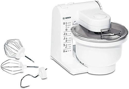 Bosch Küchenmaschine MUM4 MUM4405, Kunststoff-Schüssel 3,9 L, Planetenrührwerk, Knethaken, Schlag-, Rührbesen Edelstahl, 4 Arbeitsstufen, durch optionales Zubehör erweiterbar, 500 W, weiß