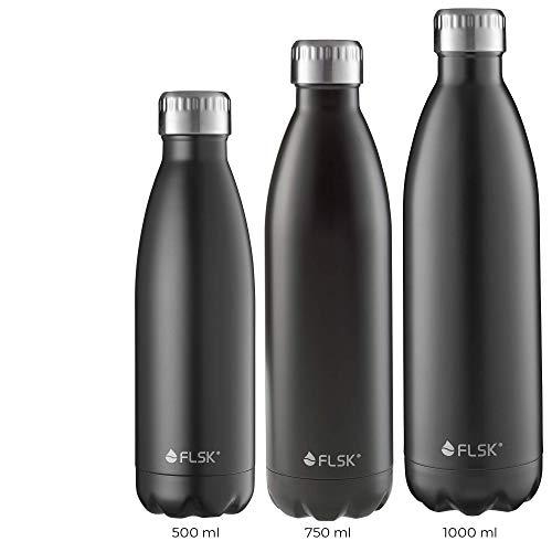FLSK das Original OLD Trinkflasche • 750ml • Thermoflasche • Isolierflasche • hält 18h heiß • 24h kalt (Farbe Black, Grösse 750ml)