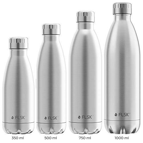 FLSK das Original Trinkflasche •750ml • Thermoflasche • Isolierflasche • hält 18h heiß • 24h kalt (Farbe Stainless, Grösse 750ml)